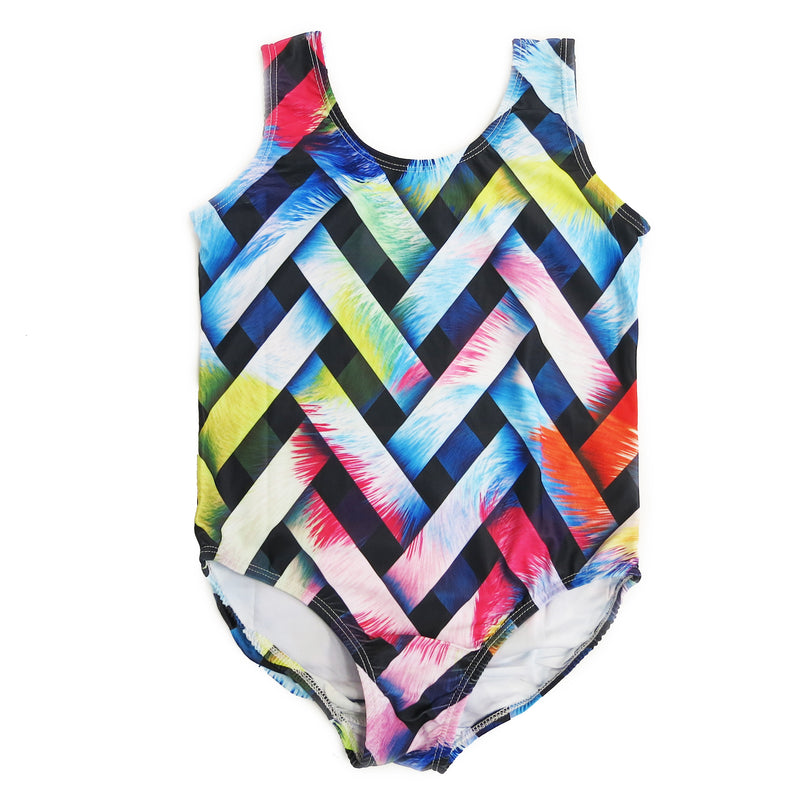 Rainbow Colorful Con-texture Lycra Leotard