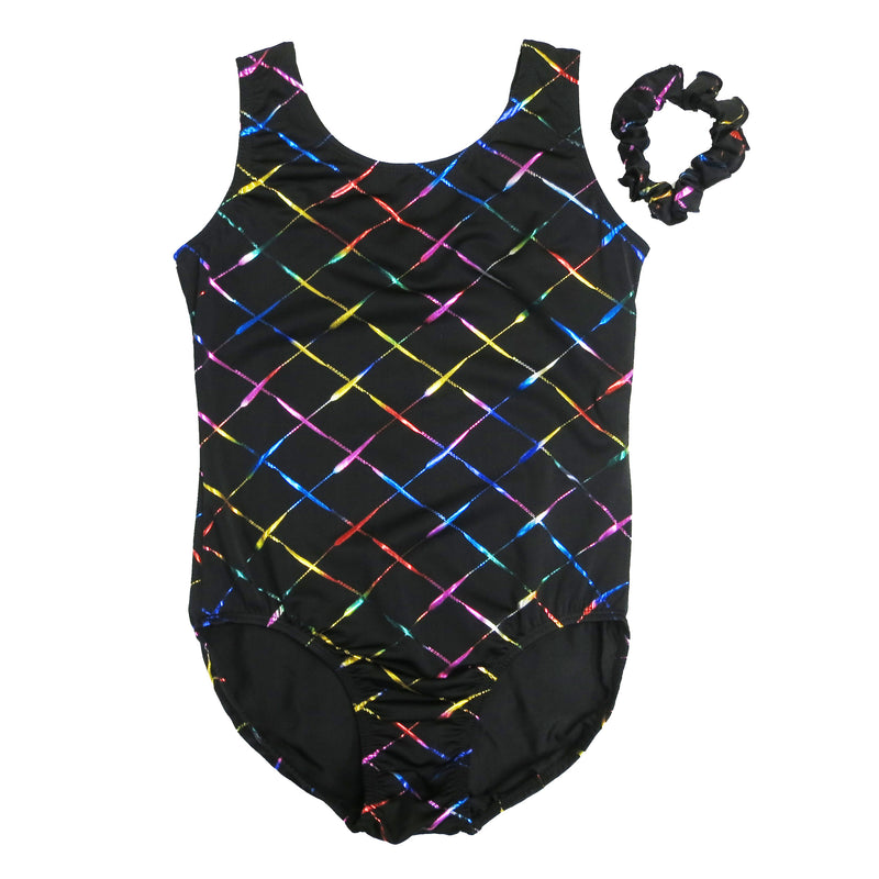 Adult Black Rainbow Cross line Leotard