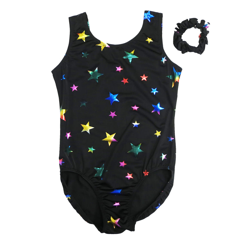 Adult Black Rainbow Stars Leotard