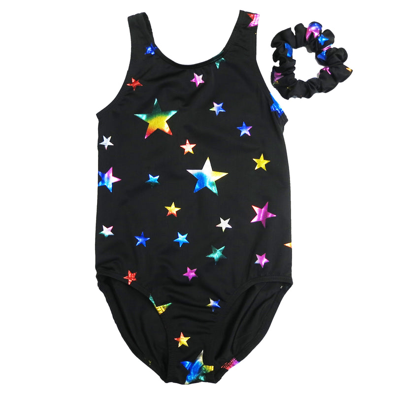 Kid's Black Rainbow Stars Leotard