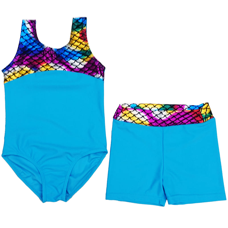 Blue Rainbow Mermaid Scale Leotard & Shorts Set