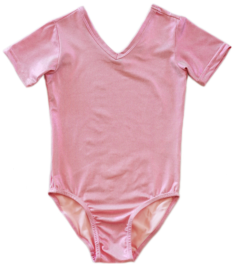 Shiny Pink Short-Sleeve Leotard