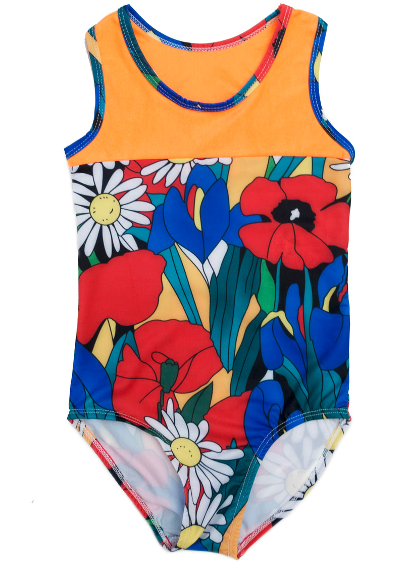 Orange Floral T-Back  Leotard