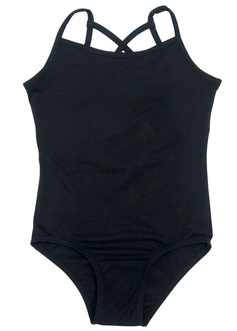 Black Spaghetti Lattice Back Cotton Leotard