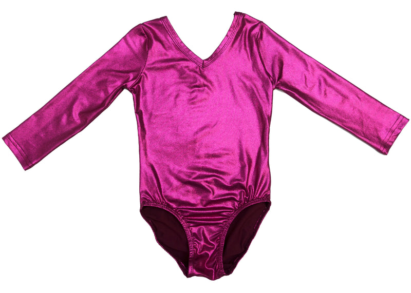 Shiny Hot Pink Long Sleeve Leotard