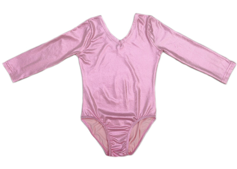 Shiny Pink Long Sleeve Leotard