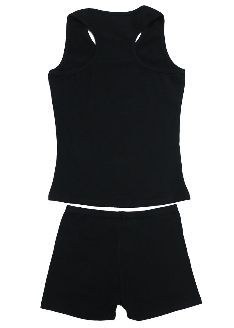 Black Cotton Gymnastic Training Tank Top & Shorts