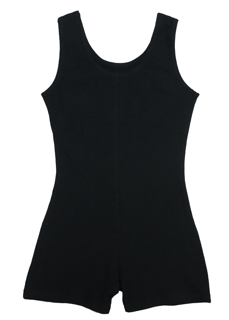 Black Cotton One-Piece Gymnastic Training Leotard