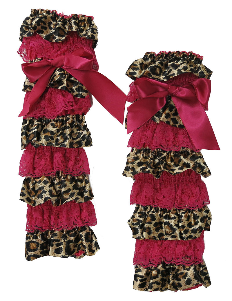 Cheetah Satin/Hot Pink Lace Leg Warmer
