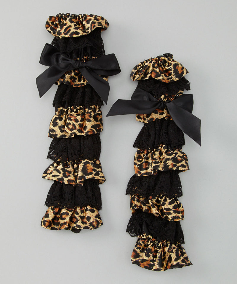Cheetah Satin/Black Lace Leg Warmer