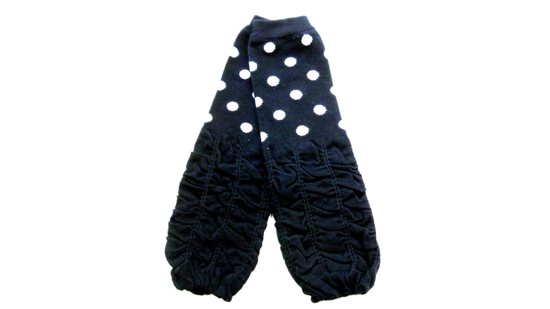 Black/White Dot Gauffer Cotton Leg Warmer