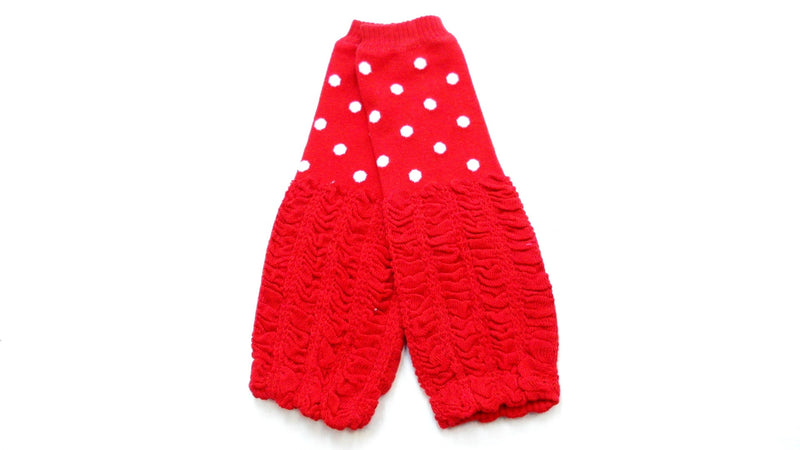Red/White Dot Gauffer Cotton Leg Warmer