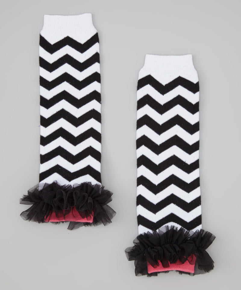 Black/White Chevron Leg Warmer With Chiffon Ruffle