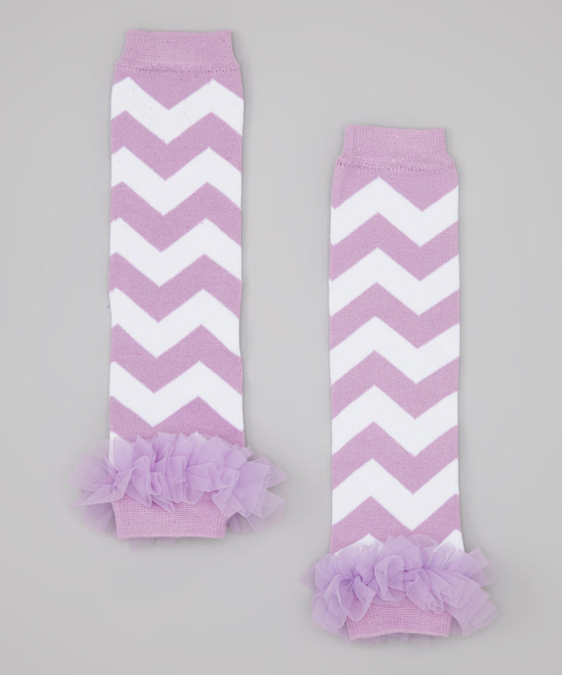 Purple/White Chevron Leg Warmer With Chiffon Ruffle