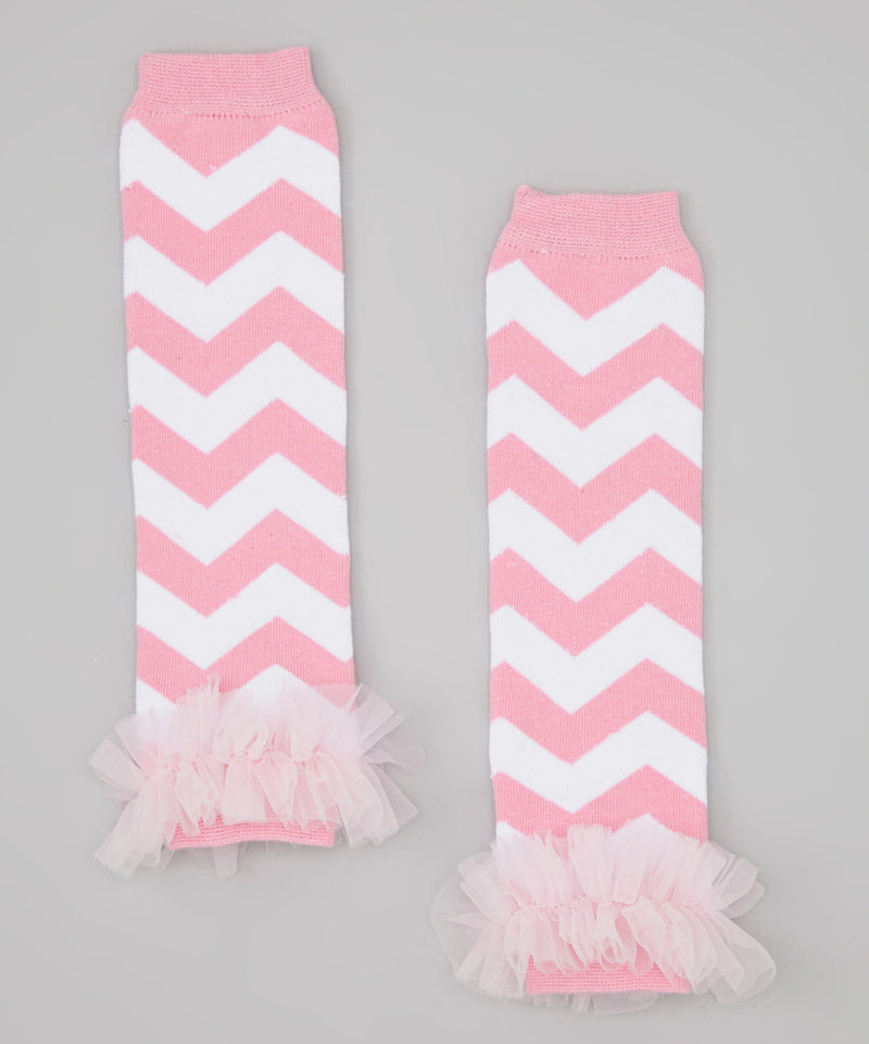 Pink/White Chevron Leg Warmer With Chiffon Ruffle