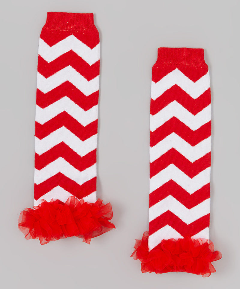 Red/White Chevron Leg Warmer With Chiffon Ruffle