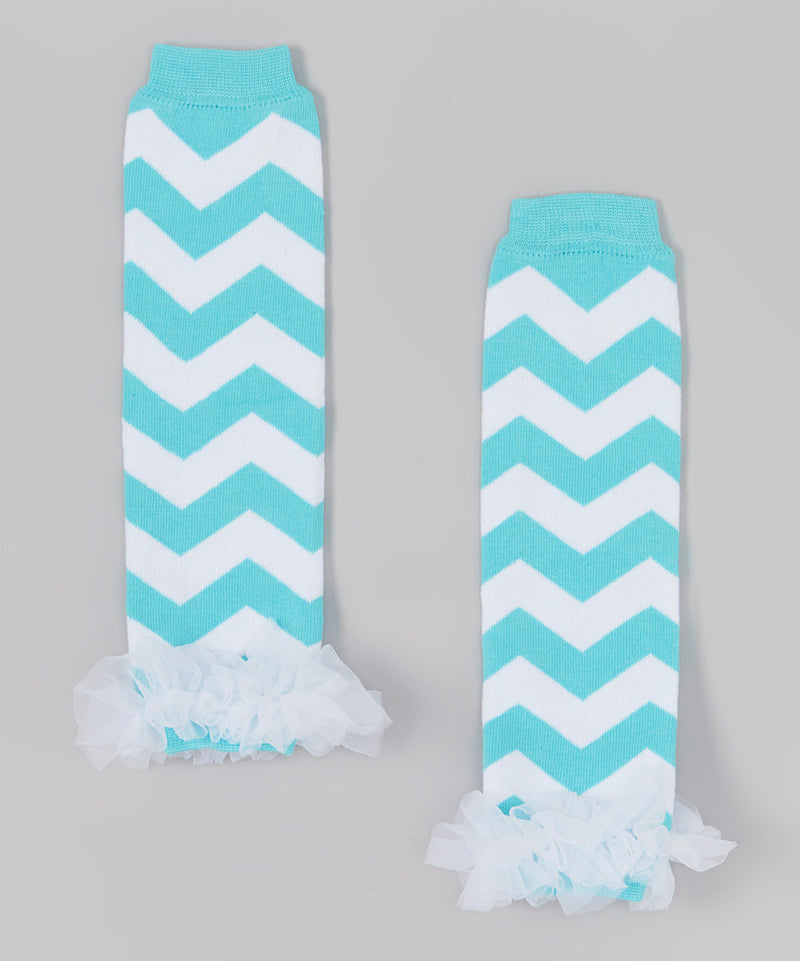 Turquoise/White Chevron Leg Warmer With Chiffon Ruffle