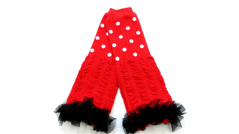 Red/White Dot Leg Warmer With Chiffon Ruffle