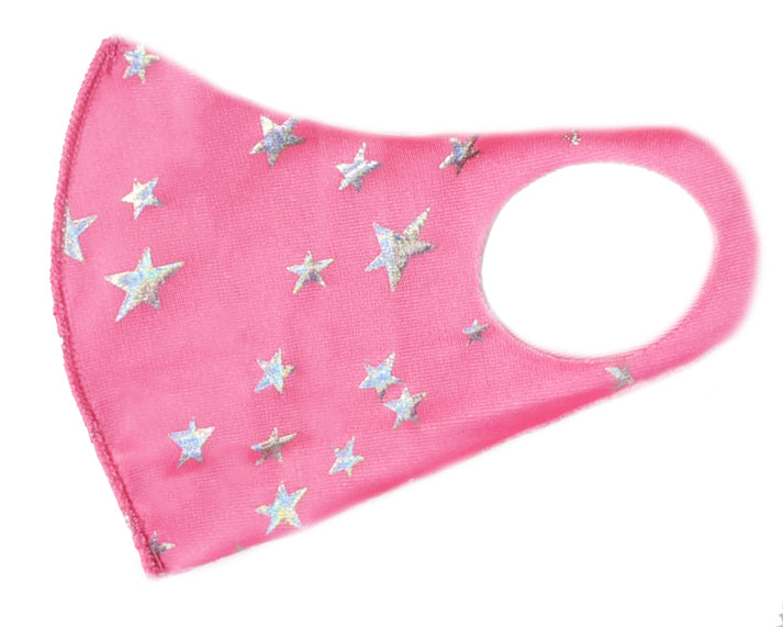 Hot Pink Stars Kid's Washable Mask