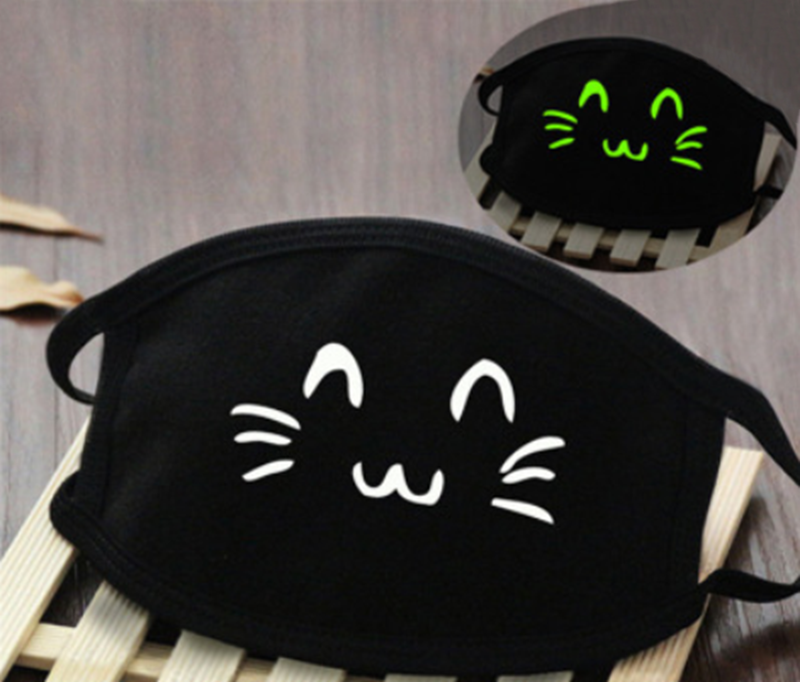 Glow In Dark Cat Washable Cotton Mask