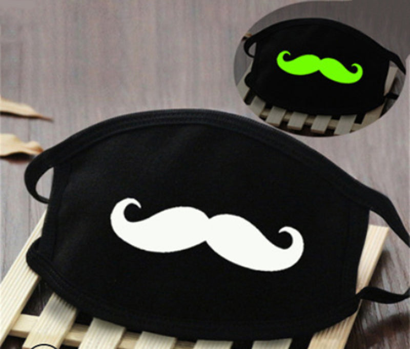 Glow In Dark Moustache Washable Cotton Mask