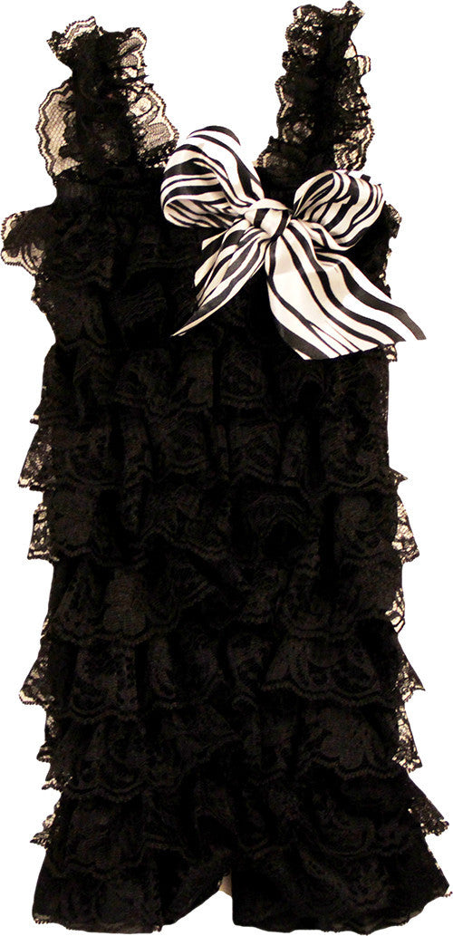 Black Lace Romper With Zebra Bow