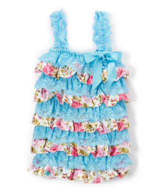 Blue & Flower Lace/Satin  Romper