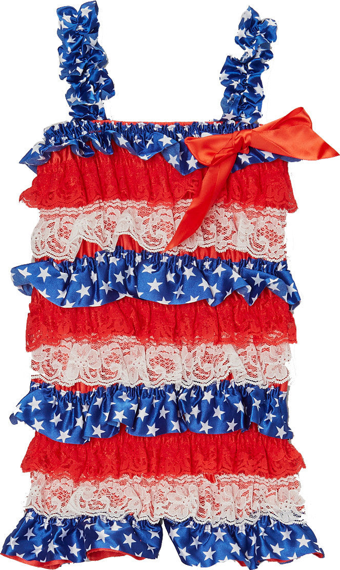 July 4Th Lace/Satin  Romper