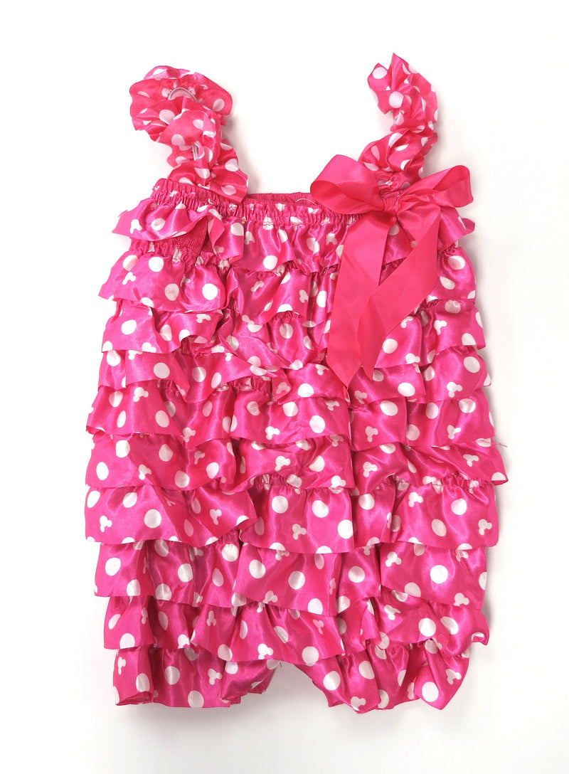 Hot Pink Minie White Dot Satin Romper