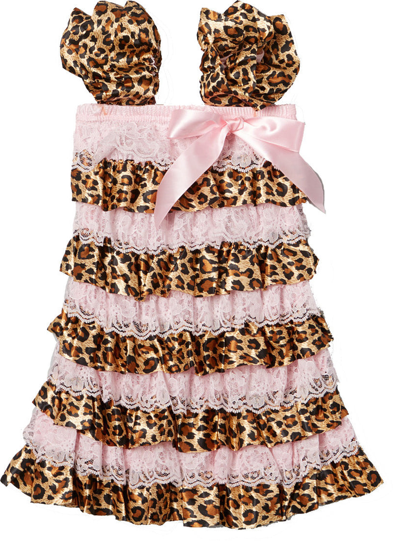 Cheetah Pink Lace Ruffle Petti Dress