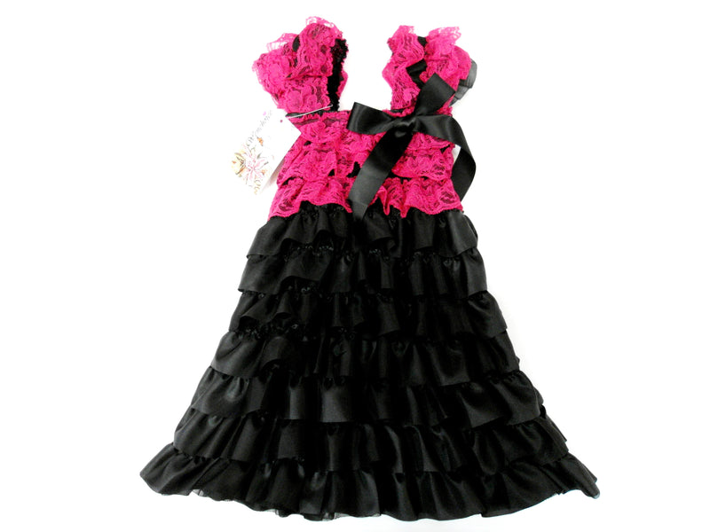 Hot Pink/Black Ruffle Petti Dress