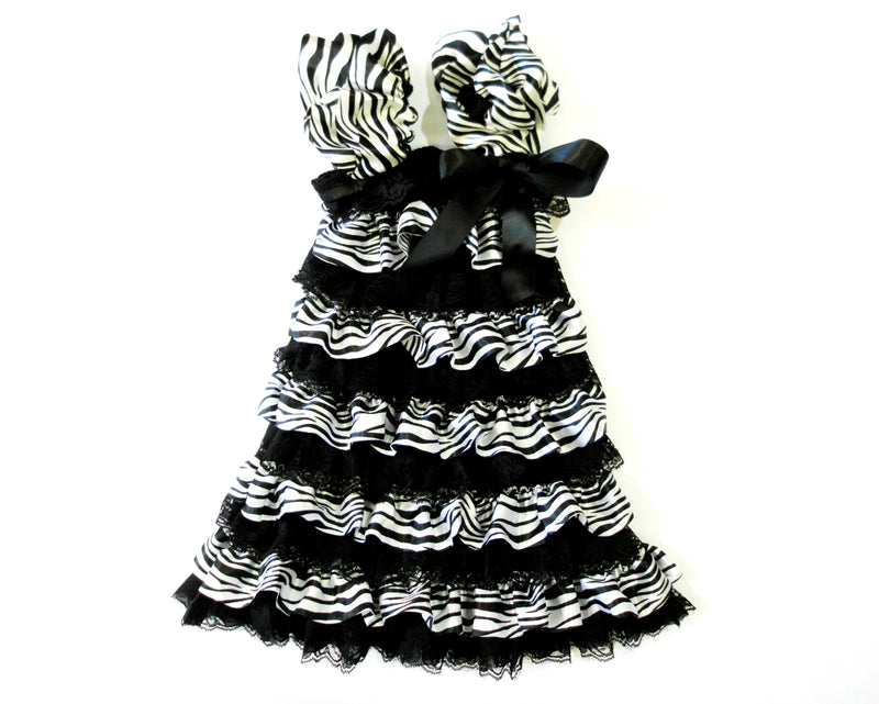 Zebra Black Lace Ruffle Petti Dress