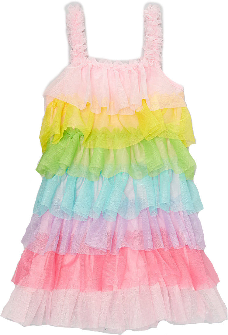 Rainbow Chiffon Ruffle Petti Dress