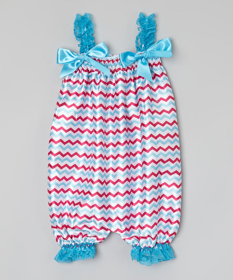 Blue/Hot Pink Chevron Bubble Romper