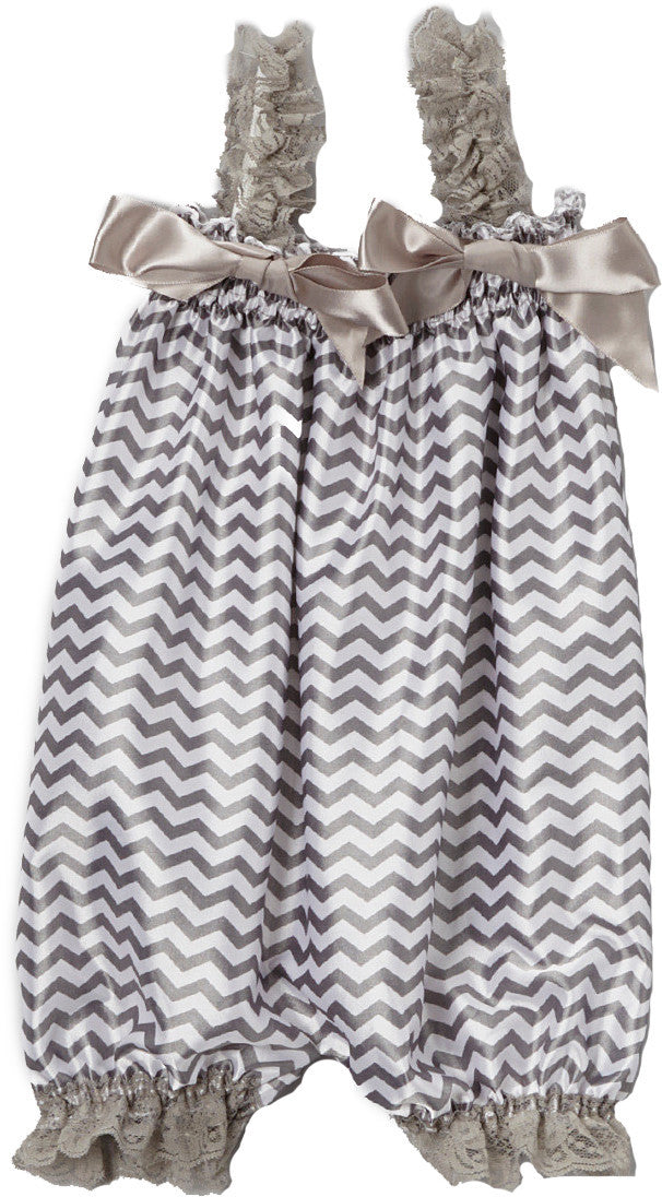 Gray Chevron Bubble Romper
