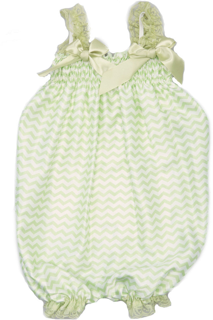 Green Chevron Bubble Romper