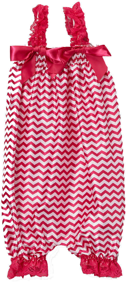 Hot Pink Chevron Bubble Romper