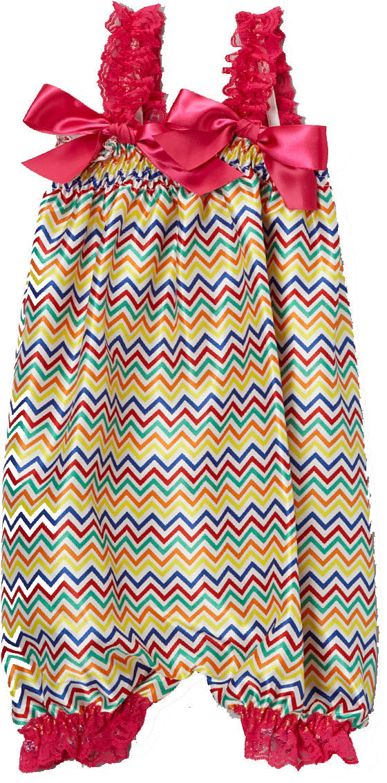 Rainbow Chevron Bubble Romper