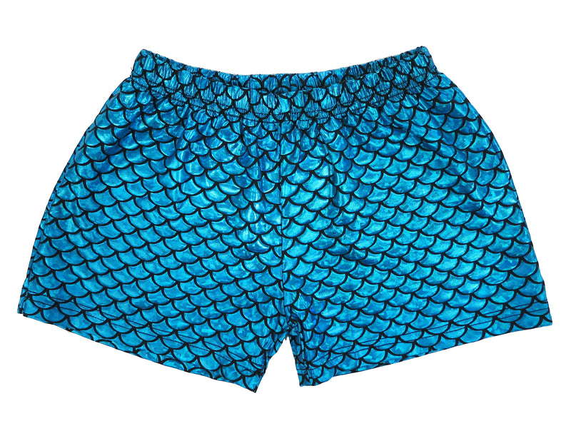 Laser Blue Mermaid Shorts For Dance/Gymnastic/Swimming