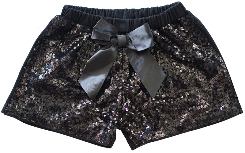 Black Sequins Bow Shorts