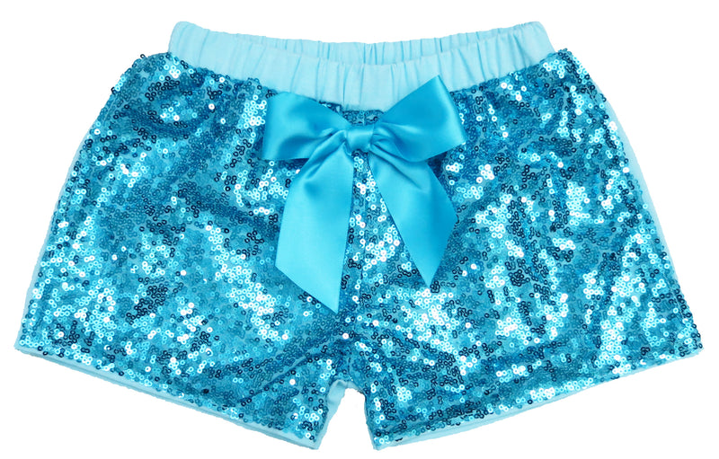 Blue Sequins Bow Shorts
