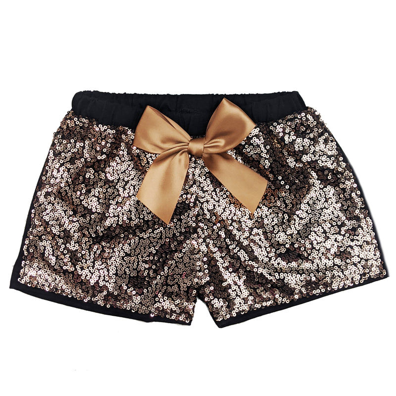 Brown Sequins Bow Shorts