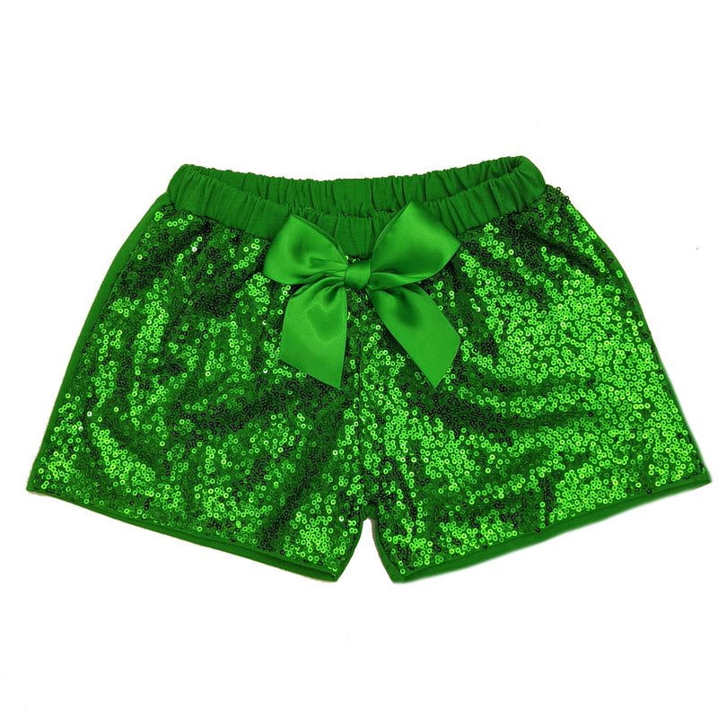 Green Sequins Bow Shorts