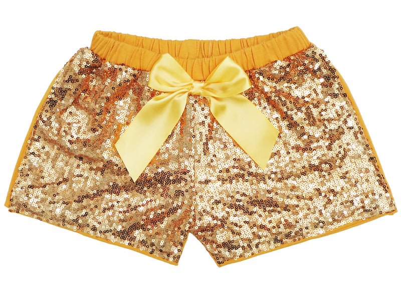 Gold Sequins Bow Shorts