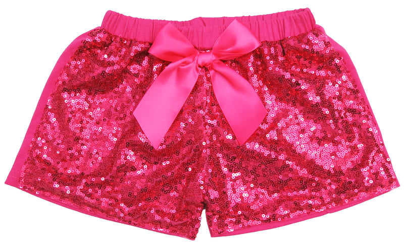 Hot Pink Sequins Bow Shorts