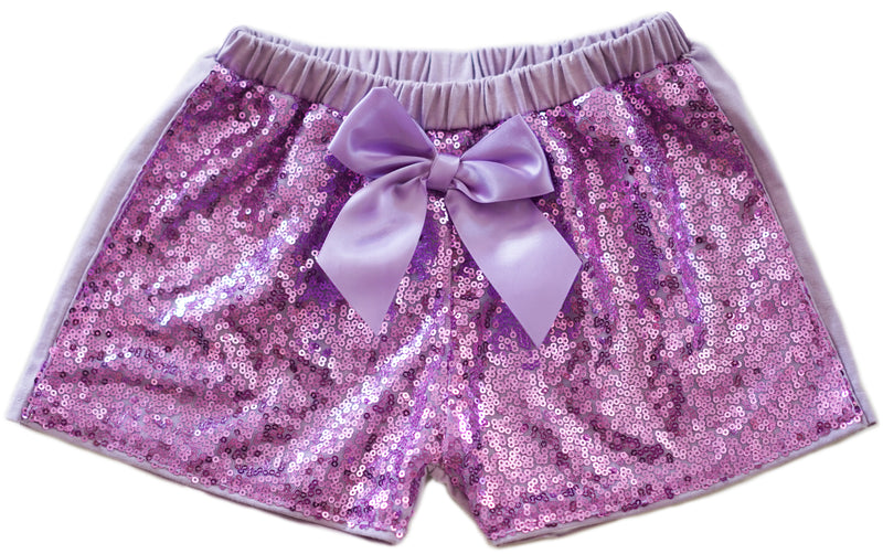 Lavender Sequins Bow Shorts
