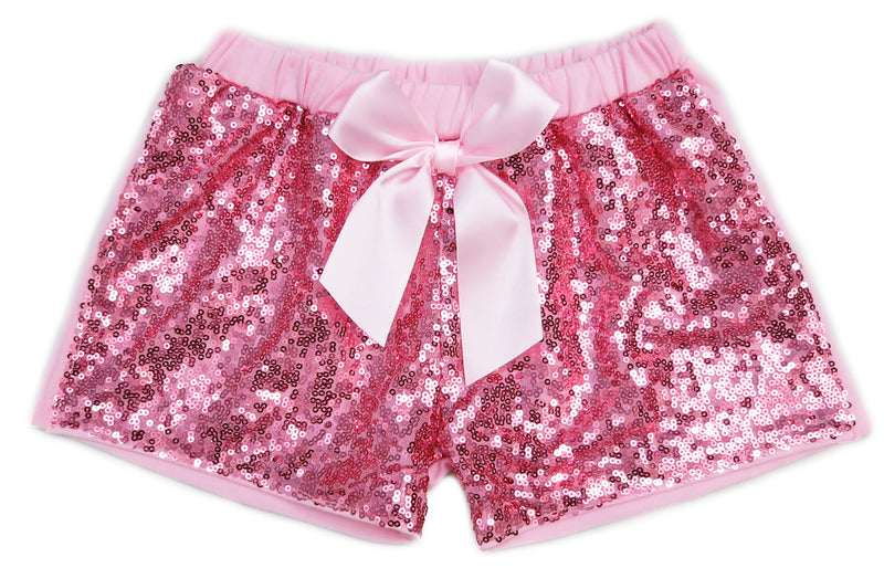 Pink Sequins Bow Shorts