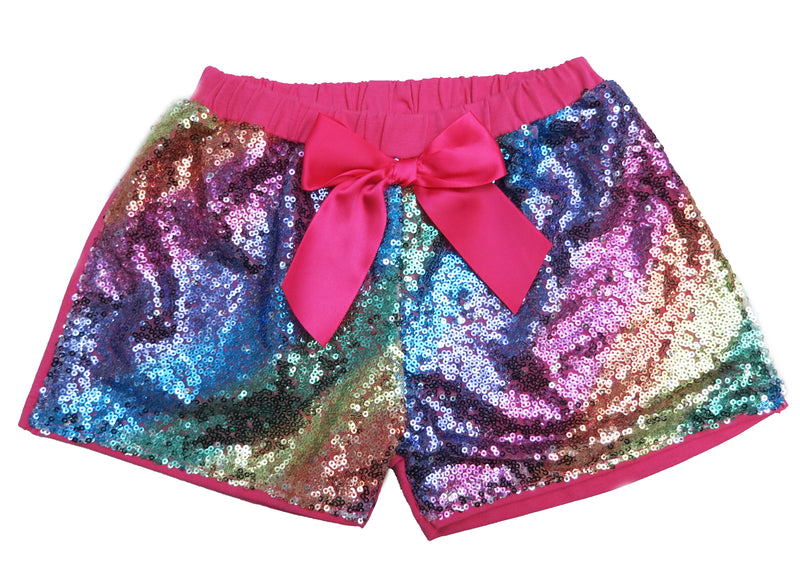 Rainbow Sequins Bow Shorts