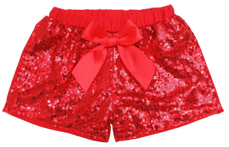 Red Sequins Bow Shorts