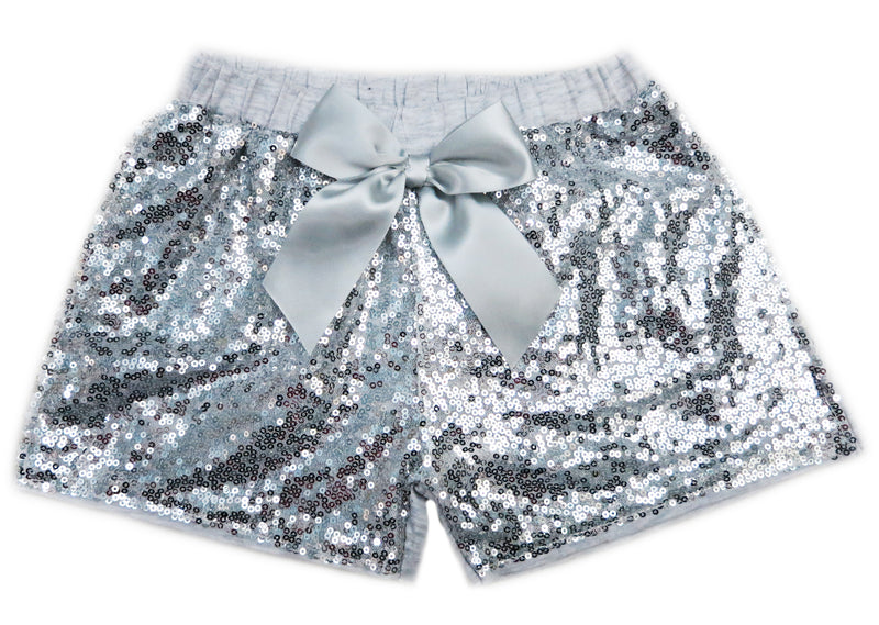 Silver Sequins Bow Shorts